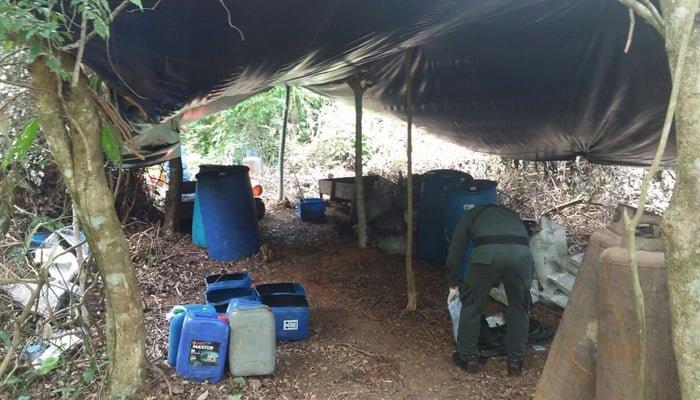 Ejército destruyó en Cáceres dos depósitos ilegales para la producción de base de coca