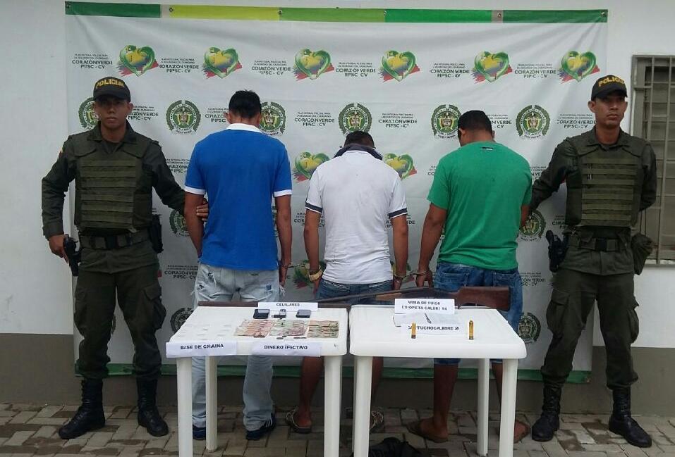 Caen presuntos expendedores de estupefacientes en Montelíbano