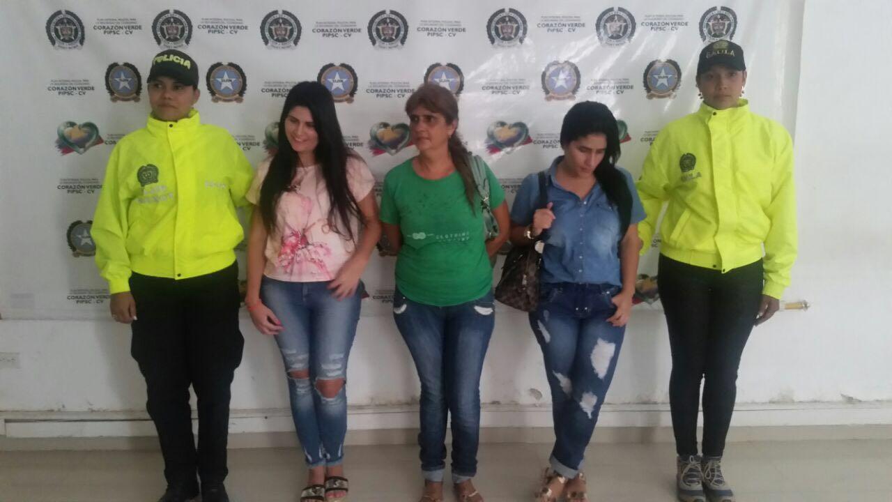 Las Mahuad detenidas en Montería por la Policía