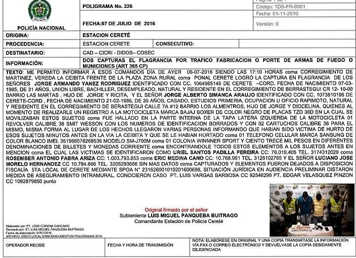'El Burrito' y 'El Lento' detenidos por asalto en Cereté