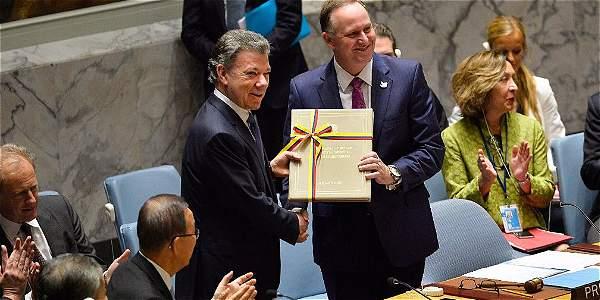 Presidente Juan Manuel Santos dio entrega del acuerdo de Paz al consejo de seguridad