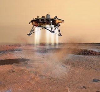 Modulo de aterrizaje de expedición Europea sobre comienza  descenso sobre Marte