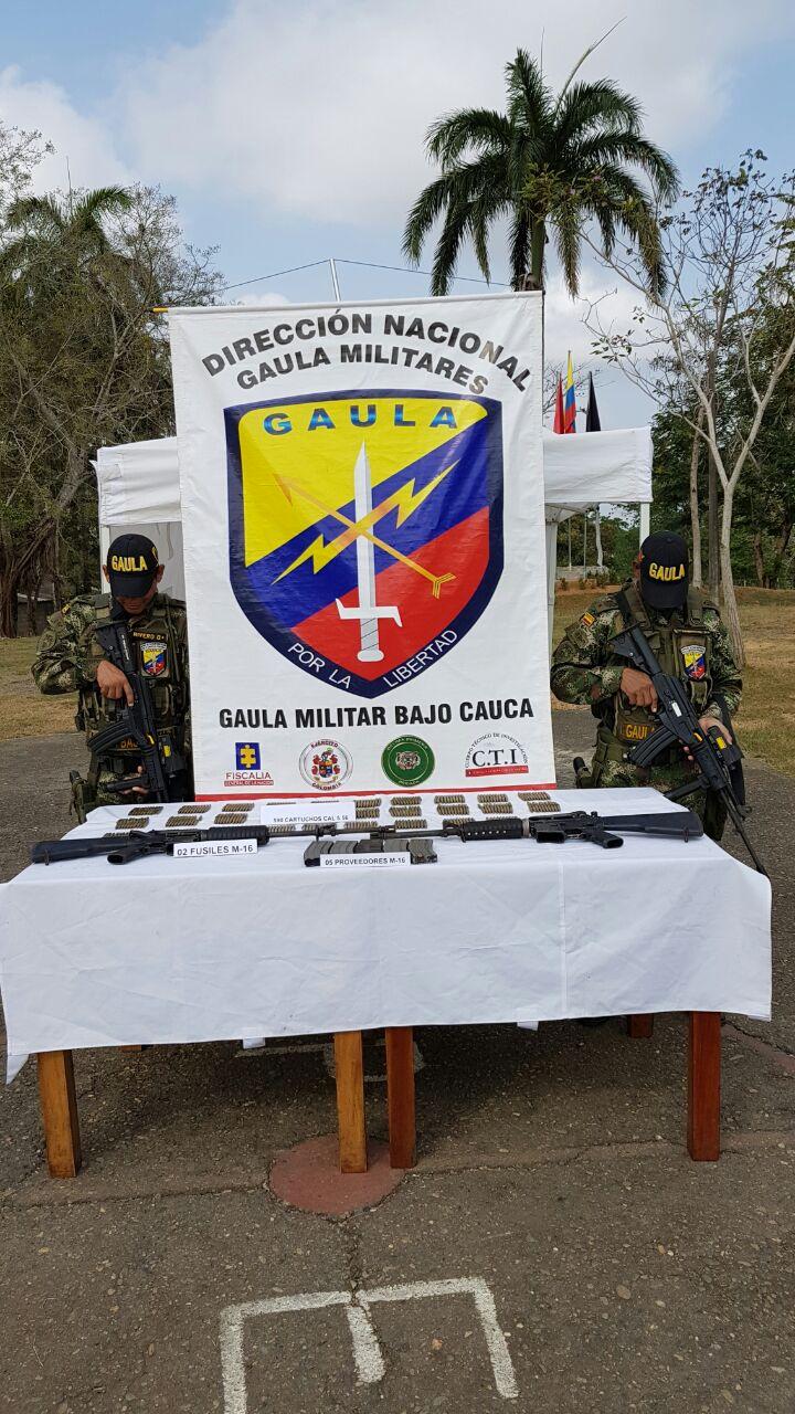 En Zaragoza, Antioquia Incautan depósito ilegal de armas del Clan del Golfo