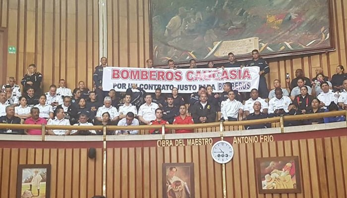 Bomberos de Caucasia visibilizaron su problemática en la Asamblea de Antioquia