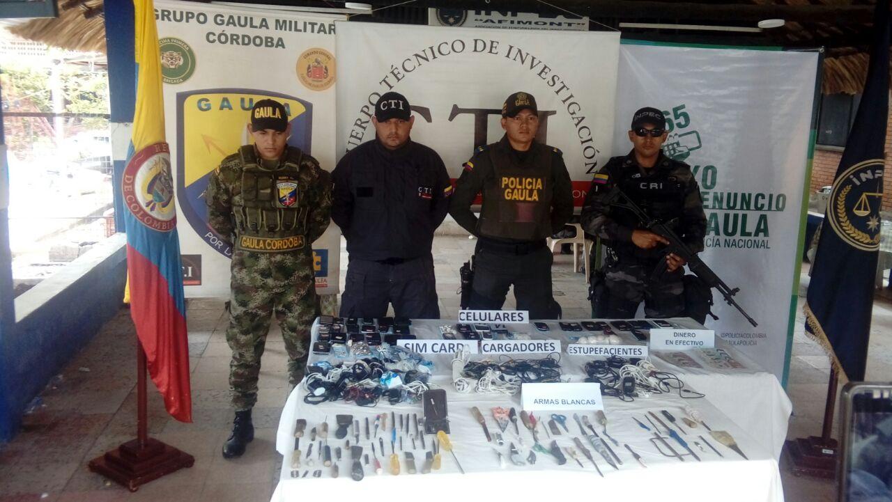 En lucha contra la extorsión, Policía incauto en la cárcel las Mercedes varios elementos