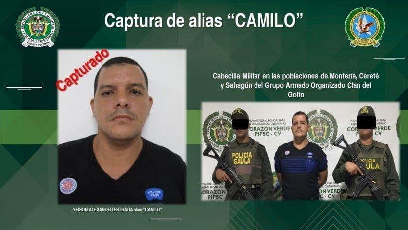 Capturan en Cantaclaro a presunto cabecilla del frente ' Juan de Dios Úsuga'