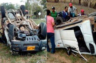 Aparatoso accidente en vía Sahagún-Colomboy