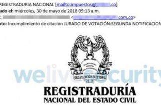 Con correo falso de la Registraduría buscan espiar a los usuarios