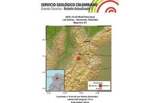 Se registró en Santander sismo con magnitud de 4.2