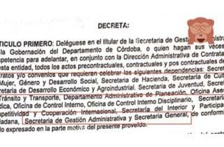 ¿Qué pasó? Reciente decreto de la Gobernación de Córdoba con errores de ortografía