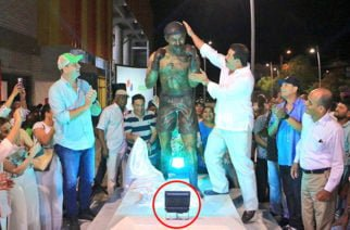 ¿Lo que empieza mal termina…? Retiran luminarias de recién inaugurada estatua de 'Happy' Lora