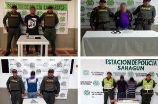 Policía captura 5 personas por porte ilegal en Córdoba