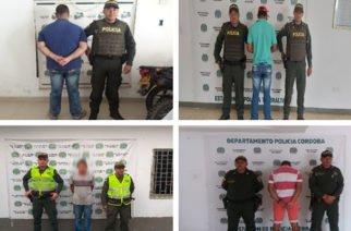 Policía captura cuatro hombres por orden judicial en Córdoba
