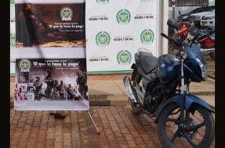 Policía recupera moto robada en zona rural de Montería