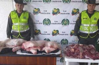 Por no contar con los permisos requeridos incautaron 122 kg de carne de res y cerdo en la vía Planeta Rica