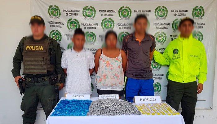 En Montelíbano capturan a tres personas por expender droga