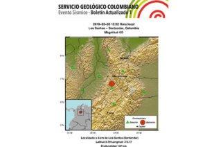 Fuerte sismo de magnitud de 4.0 sacude al departamento de Santander