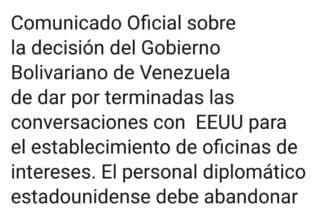 Venezuela le da un ultimátum de 72 horas a EE.UU. para retirar su personal diplomático