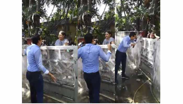 Vídeo: Periodista intentó entrevistar a mujer que agredió a taxista y resultó mojado  y golpeado