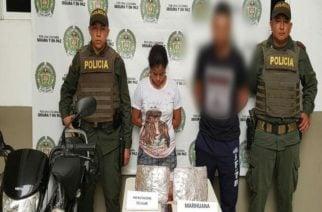 Capturan a una mujer y un hombre con más de mil dosis de marihuana en Lorica