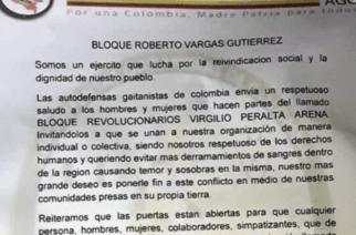 Panfleto circula en Montelíbano para una posible unión entre 'El Clan del Golfo' y 'Los Caparros'
