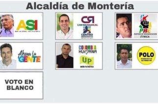 Conozca cómo quedaron las posiciones en el tarjetón electoral para elegir alcalde de Montería