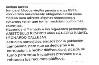 Amenaza política: A través de panfletos intimidan a candidatos de Puerto Libertador