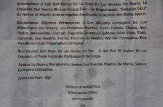 Alarma en Sucre: Panfletos firmados por las Farc-EP amenazan a alcaldes