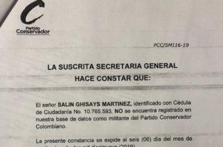 Partido Conservador desmiente militancia de Salin Ghisays dentro de su organización