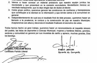Tras estrechos resultados en Montelíbano, Gabriel Calle pide reconteo de votos y llama a la paz