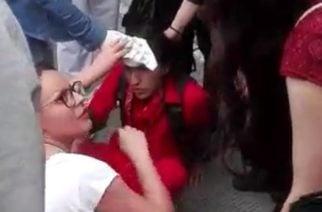 En video: Con una 'pedrada' rompieron la cabeza de un joven en Bogotá durante el paro