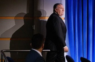 Secretary of State Mike Pompeo arrives to speak about Iran, Tuesday Jan. 7, 2020, at the State Department in Washington. (AP Photo/Jacquelyn Martin)