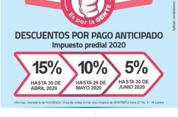 Atención: Alcaldía de Montería anuncia descuentos por pronto pago predial